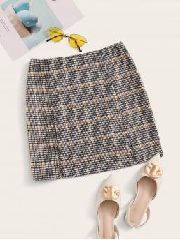 Preppy Slit Plaid High Waist Multicolor Mini Length Zipper Fly M-slit Hem Tweed Skirt