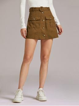 Casual A Line Plain High Waist Brown Mini Length Premium Button Front Flap Pocket Belted Skirt with Belt