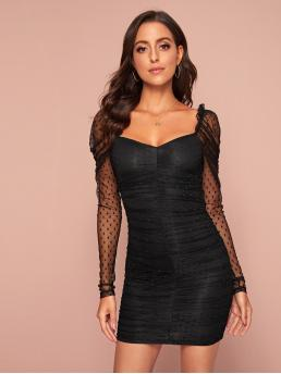 Sexy Bodycon Plain Pencil Slim Fit Sweetheart Long Sleeve Leg-of-mutton Sleeve Natural Black Short Length Puff Sleeve Ruched Detail Dobby Mesh Dress with Lining