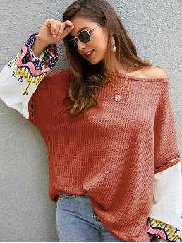 Casual Colorblock and Graphic Pullovers Oversized Round Neck Long Sleeve Pullovers Orange Regular Length Contrast Bishop Sleeve Embroidery Sweater