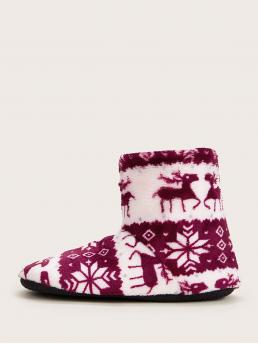 Comfort Other Round Toe No zipper Multicolor Geometric Graphic Faux Fur Lined Boots