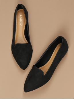 Trending now Black Ballet Point Toe Suede Pointed Toe Smoking Shoe Flats
