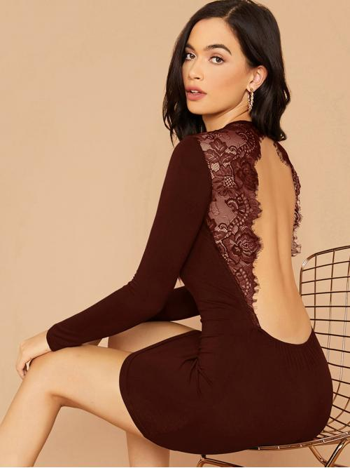 Sexy Tee Plain Pencil Slim Fit Round Neck Long Sleeve Regular Sleeve Natural Burgundy Mini Length Lace Insert Backless Bodycon Dress