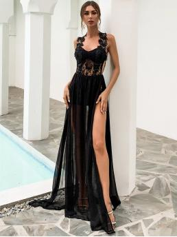 Clearance Black Plain Zipper Halter Backless Split Thigh Lace Bodice Dress