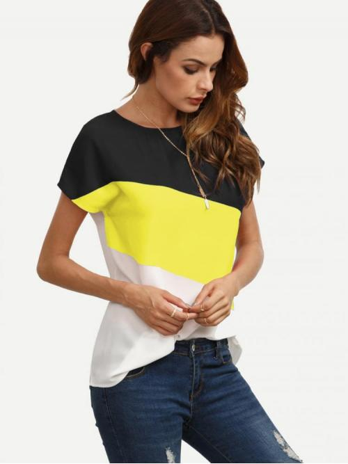 Trending now Short Sleeve Top Button Polyester Buttoned Closure Back Cut and Sew Cap Sleeve Top
