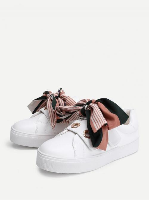 Womens Corduroy White Skate Shoes Bow Decorated Slip on Sneakers