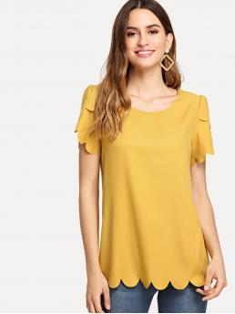 Casual Plain Top Regular Fit Round Neck Short Sleeve Petal Sleeve Yellow Regular Length Tulip Sleeve Scallop Trim Keyhole Top