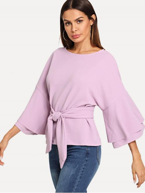 Long Sleeve Top Belted Guipure Lace Tie Front Layered Trumpet Sleeve Textured Top on Sale