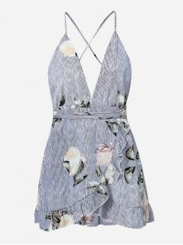 Boho Cami Floral and Striped Wrap Loose Deep V Neck and Spaghetti Strap Sleeveless Natural Blue Short Length Ruffle Trim Open Back Overlap Dress