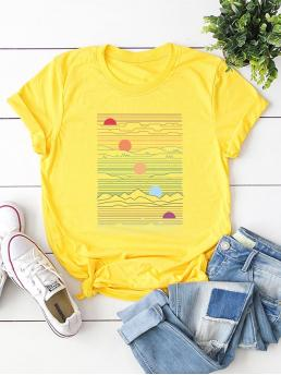 Casual Cartoon Regular Fit Round Neck Short Sleeve Roll Up Sleeve Pullovers Yellow Regular Length Sun Print Tee