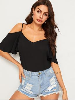 Casual Plain Top Regular Fit Spaghetti Strap Short Sleeve Flounce Sleeve Pullovers Black Regular Length Solid Cold Shoulder Layered Sleeve Top