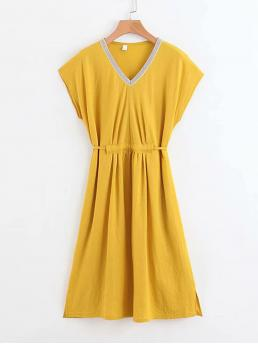 Casual A Line V neck Cap Sleeve Natural Yellow Midi Length Contrast Tape Trim Tie Back Dress