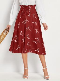 Casual Flared Ditsy Floral Mid Waist Red Long/Full Length Lace-up Paperbag Waist Floral Print Skirt