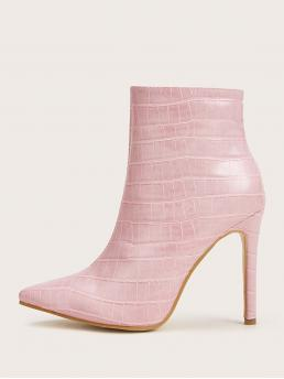 Other Crocodile Side zipper Pink High Heel Stiletto Point Toe Croc Stiletto Heeled Boots