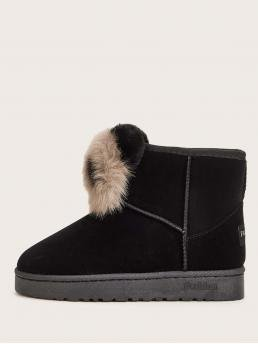 Comfort Other Round Toe No zipper Black Panda Design Faux Fur Lined Ankle Boots