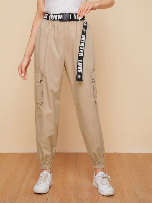 Sporty Cargo Pants Letter and Geometric Regular Elastic Waist High Waist Khaki Long Length Letter Graphic Buckle Belted Flap Pocket Patched Pants with Belt