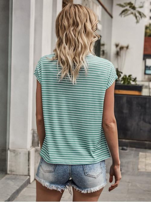 Trending now Cap Sleeve Polyester Striped Mint Green Stripe Tee