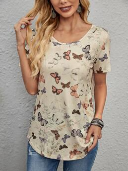 Short Sleeve Polyester Animal Apricot Butterfly Printline Tee Trending now
