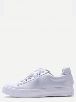 Skate Shoes Round Toe Lace Up White White Breathable Rubber Sole Low Top Sneakers