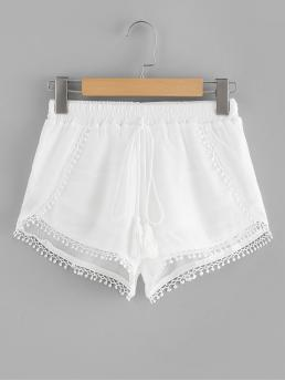 Casual Plain Regular Drawstring Waist Mid Waist White Lace Trim Fringe Tie Shorts