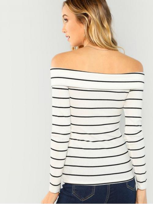 Long Sleeve Criss Cross Striped White Cross over Bardot Tee Ladies