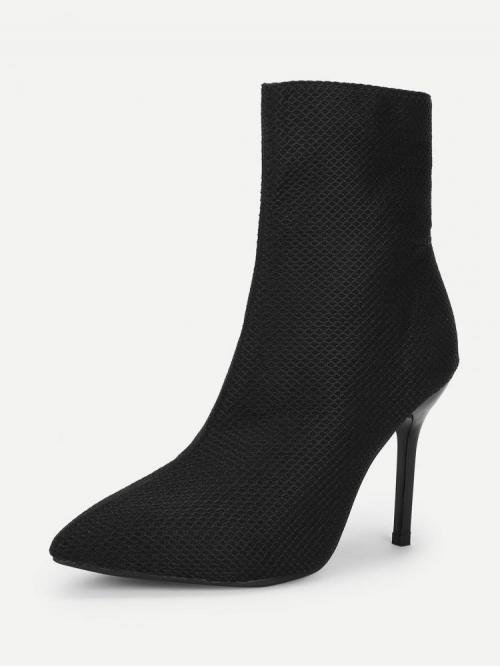 Polyester Black Stretch Boots Embroidery Net Heeled Boots Trending now