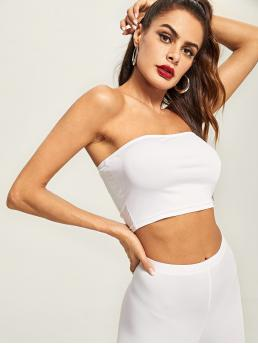 Casual Plain Slim Fit Strapless White Crop Length Solid Crop Bandeau Top