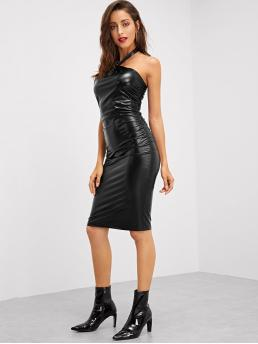 Women's Black Plain Spiked Halter Form Fitting Dress