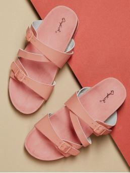 Comfort Open Toe Criss Cross and Strappy Pink Strappy Buckled Thick Footbed Slide Sandals