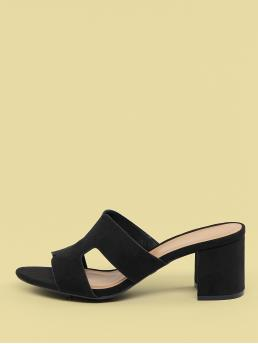 Business Casual Plain Black Mid Heel Chunky Dual Cut Out Low Block Heel Open Toe Mules