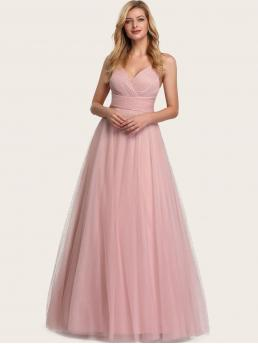 Glamorous A Line Plain Flared Regular Fit Sweetheart Sleeveless High Waist Pink and Pastel Maxi Length EverPretty Shirred Back Empire Waist Glitter Mesh Prom Dress with Lining