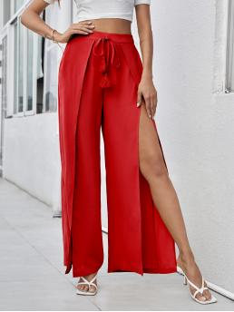 Bright High Waist Split Thigh Wide Leg Knot Front Foldover Front Pants Discount