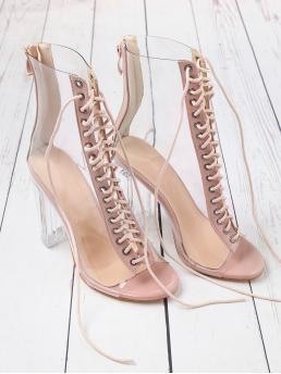 Glamorous Peep Toe Beige High Heel Stiletto Lace Up Zipper Back Transparent Heels