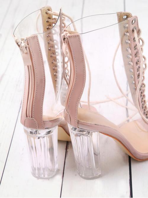 Corduroy Clear Booties Cut out Lace up Back Transparent Heels Ladies