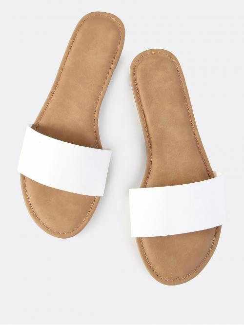 White Slide Sandals Open Toe Pu Leather Faux Leather Slip on Sandals Pretty
