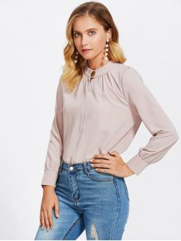 Elegant Plain Top Oversized Stand Collar Long Sleeve Pullovers Khaki and Pastel Mock Neck Button Front Shirt