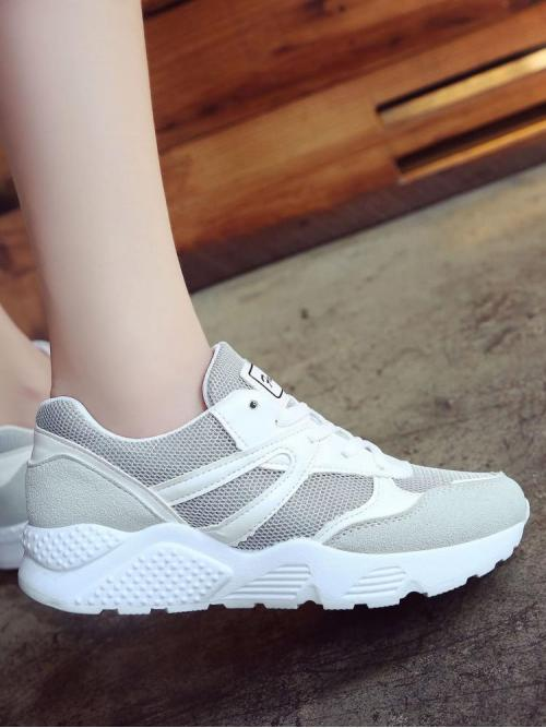 Polyester Multicolor Running Shoes Cut out Contrast Faux Leather Trainers Sale