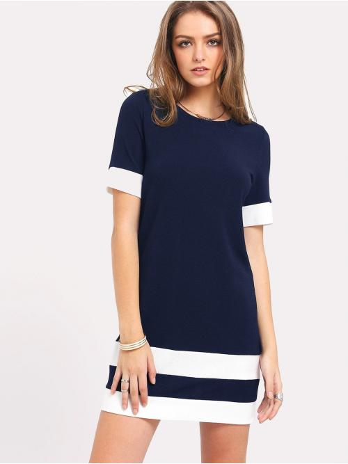 Casual Tunic Colorblock Straight Loose Round Neck Short Sleeve Natural Navy Mini Length Color Block Stripe Tunic Dress