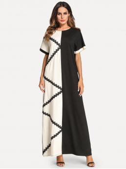 Modest Tunic Colorblock Straight Round Neck Short Sleeve Natural Black and White Maxi Length Lace Crochet Contrast Color Block Longline Dress