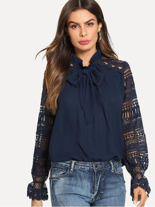 Long Sleeve Top Frill Lace Geo Sleeveed Tie Neck Blouse Cheap
