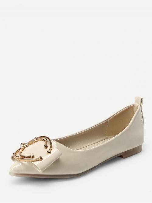 Cheap Corduroy Apricot Mules Buckle C Shaped Metal Decorated Flats
