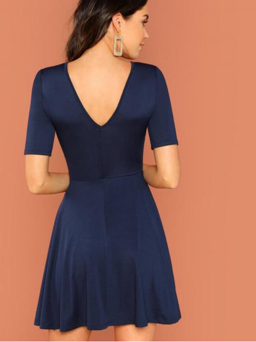 Affordable Navy Blue Plain Backless Round Neck Solid Fit and Flare Dress