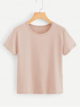 Casual Plain Regular Fit Round Neck Short Sleeve Pullovers Pink Regular Length Solid Round Neck Basic Tee