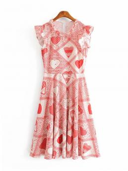 Boho Heart Round Neck Sleeveless Natural Multicolor Midi Length Geo Print Zip Back Dress