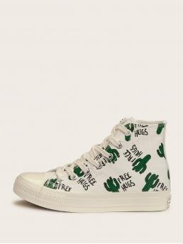 Comfort Round Toe Letter Multicolor Cactus Print Lace-up Front Sneakers