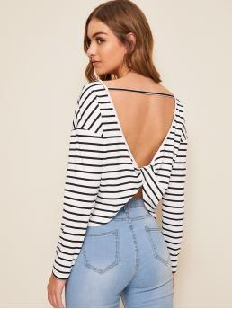 Sexy Striped Regular Fit Round Neck Long Sleeve Pullovers Black and White Regular Length Cut Out Twist Back Striped Top