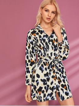 Casual Shirt All Over Print Regular Fit Collar Long Sleeve Regular Sleeve High Waist Multicolor Short Length Leopard Print Self Tie Shirt Dress with Belt