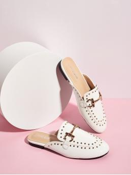 Mules Round Toe Plain White Metal Decor Loafers Mules