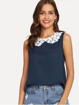 Casual Plain Top Regular Fit Round Neck Sleeveless Pullovers Navy Regular Length Lace Peter Pan Collar Shell Top