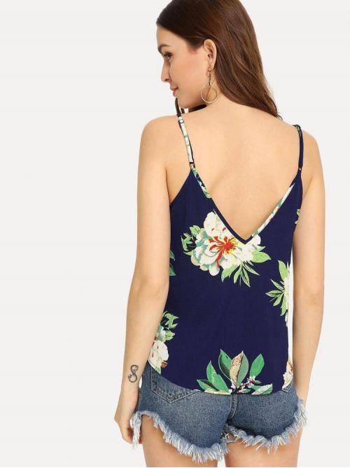 Women's Sleeveless Cami Ring Polyester Double V-neck Top